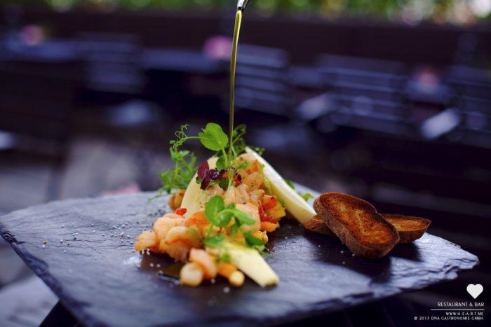 Garnelen Palmherzensalat mit Limetten-Koriander Dressing