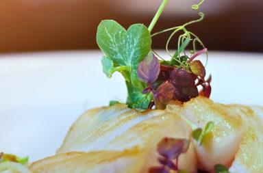 Glaced Black Cod auf knackigem sweet Miso Gemüse Glasnudel und Pfifferlingsfond