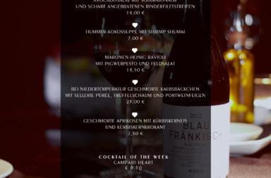 Kulinarische Highlights im Herbst. Wochenkarte (8. Okt 2014)