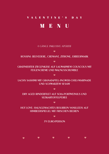 Valentinstag Menu 2019 Heart Restaurant Bar